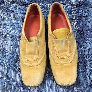 Hogan Mustard Suede Slip On Loafers Size 10.5